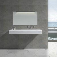 Lavabo suspendu - Solid surface Blanc Mat - 120x50 cm - Feel