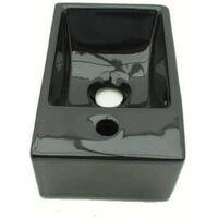 Lave main Gain de Place Gauche - Céramique - Noir - 30x20 cm - Essento