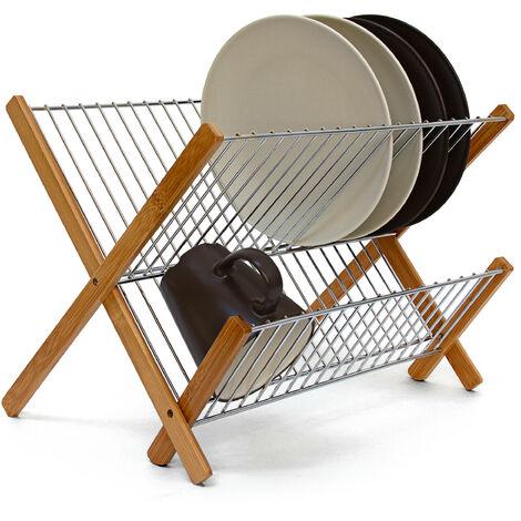 Abtropfgestell CROSS, zum Klappen, für Teller, Tassen, Bambus, Metall, Abtropfständer, 27 x 38 x 29 cm, natur
