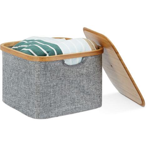 Aufbewahrungskorb Stoff, Aufbewahrungsbox mit Deckel, Regalkorb grau, Stoffbox, HxBxT: 25 x 33 x 33 cm, grey