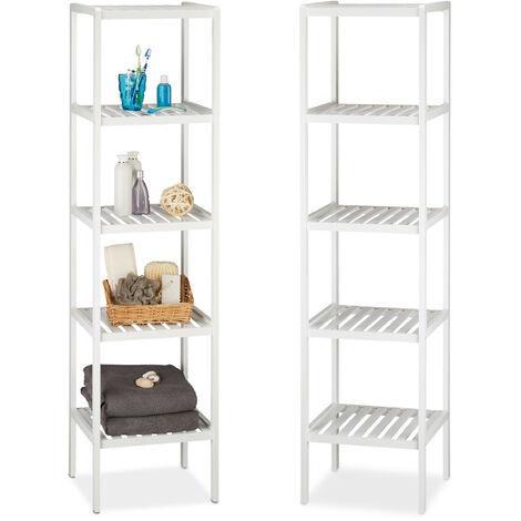 2 x Bambusregal mit 5 Ablageflächen, hohes Standregal, Holzregal für Küche, Flur und Bad, weiß