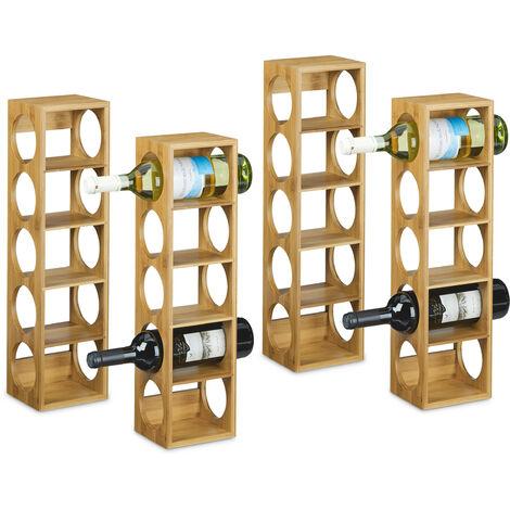 4x Weinregal Bambus, Flaschenhalter 5 Fächer, Holzregal für Wein, Flaschenregal modern, HxBxT: 53 x 14 x 12 cm, natur