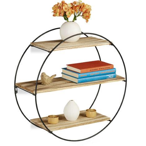Wandregal rund, schwebendes Dekoregal mit 3 Ablagen, Metall & Holz, Vintage, Rundregal Ø 50 cm, schwarz/natur