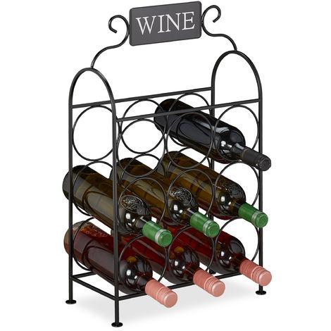 Weinregal, 9 Flaschen, dekorativer Weinständer für Küche & Wohnzimmer, Metall, HBT 55 x 34 x 17,5 cm, schwarz