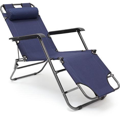 1 x Liegestuhl klappbar, Gartenliege 3-fach verstellbar, Mit Nackenkissen und Armlehne, Polyesterbezug, Bis 100 kg, blau