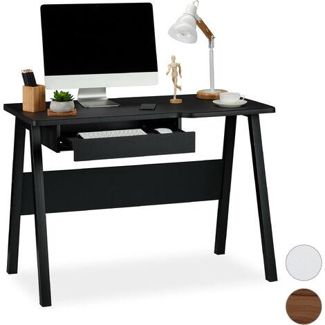 Schreibtisch mit Tastaturauszug, platzsparend & kompakt, große Arbeitsfläche, HBT: 77,5 x 110 x 58 cm, schwarz