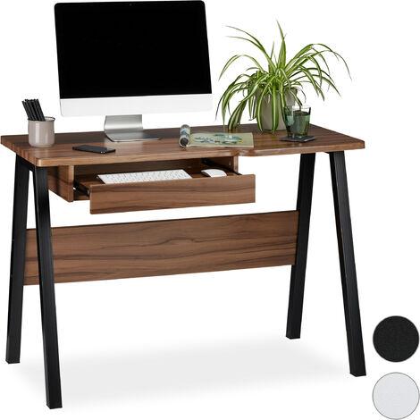 Schreibtisch Tastaturauszug, platzsparend & kompakt, große Arbeitsfläche, HBT: 77,5x110x58 cm, natur/schwarz