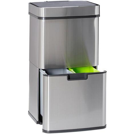 Poubelle de tri sélectif 3 compartiments inox 60 litres ouverture sensitive HxlxP: 74,5 x 42 x 31,5cm, argenté