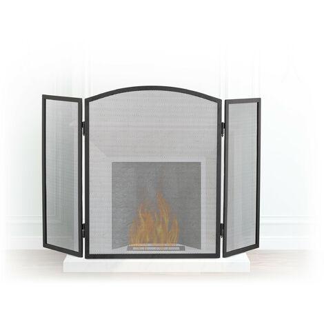 Pare-étincelles cheminée acier barrière sécurité pare-feu protection grille 3 pièces HxL 62 x 96 cm, noir