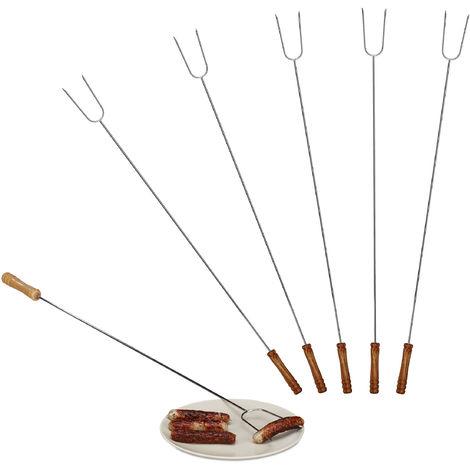 Brochettes grill lot de 6 piques barbecue pics grillades en inox couverts viande légume 80 cm, nature/argent