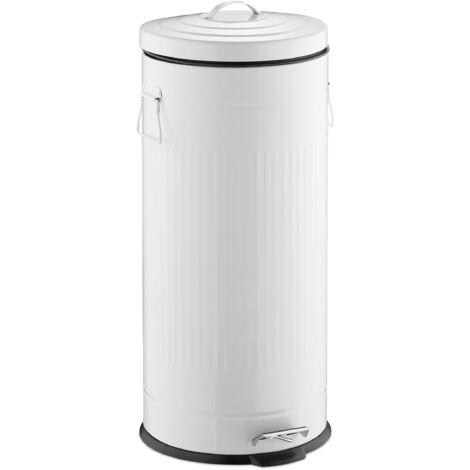 Poubelle «Retro» 30L poubelle cuisine ronde déchet couvercle intérieur plastique pédale vintage design, blanc