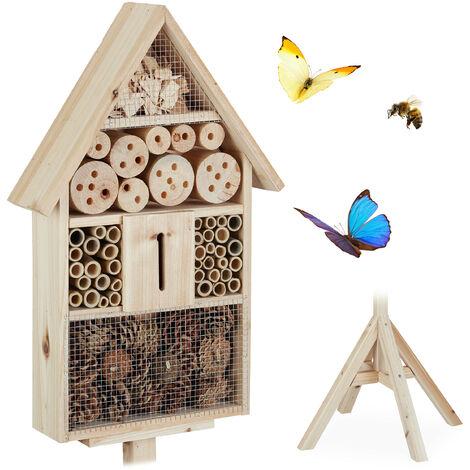 Hôtel à insectes sur pied, Maison à insectes, abeilles refuge, Nid cabane Jardin HxlxP: 140x47x47cm, nature