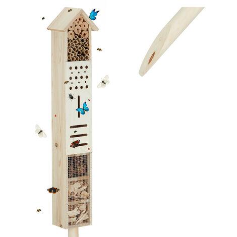 Hôtel à insectes piquet Maison à insectes abeilles refuge nid cabane jardin, 148 cm, nature
