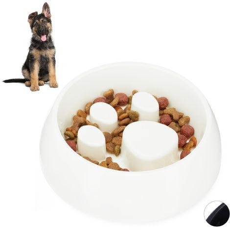 Gamelle Anti glouton, chien manger lentement bol croquette eau chat, aliment digestion lente, blanc