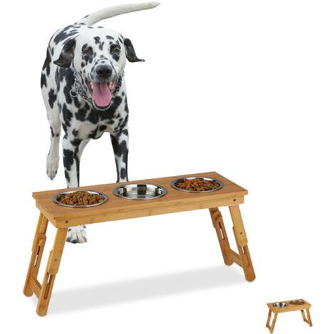 Support à gamelle, chiens de taille moyenne, pour eau & nourriture, réglable et pliable, 31x70x23 cm, naturel