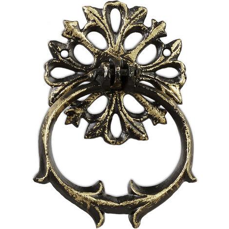 Relaxdays Heurtoir de porte antique, Anneau de frappe pour porte, rustique, fonte de fer, 13 x 9,5 x 2 cm, bronze