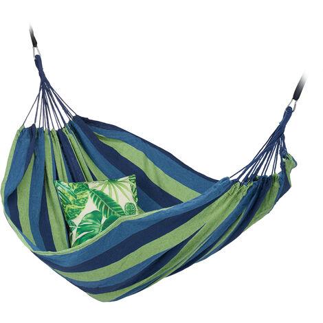 Hamac 300kg, 2 Personnes, Jardin Extérieur, Suspendu, Intérieur, Coton, Transportable, 150 x 272 cm, bleu-vert
