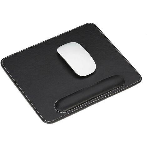 tapis de souris, similicuir, ergonomique, tapis souris avec repose poignet, pour PC, carré, noir
