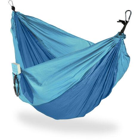 Hamac XXL extérieur camping 2 personnes extra léger jardin charge 200 kg, lxP 152x255: 152 x 255 cm, bleu