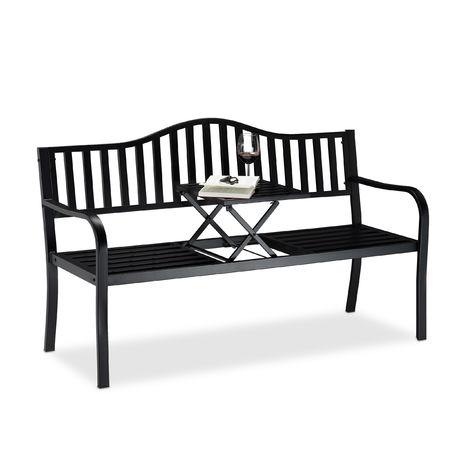 Banc de jardin table pliante, 3 places, Banc extérieur balcon terrasse en métal, 90 x 150 x 57,5 cm, noir