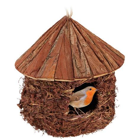 Nid d'oiseaux, à suspendre, Jardin, balcon, troglodyte mignon, paille, bois, décoration, HxD 26x25 cm, marron
