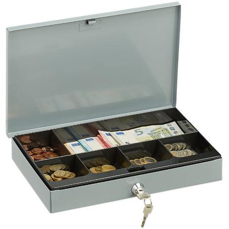 caisse à monnaie, verrouillable, boîte métallique peu élevée avec monnayeur, 2 clés, HxLxP : 5x30x20 cm, gris