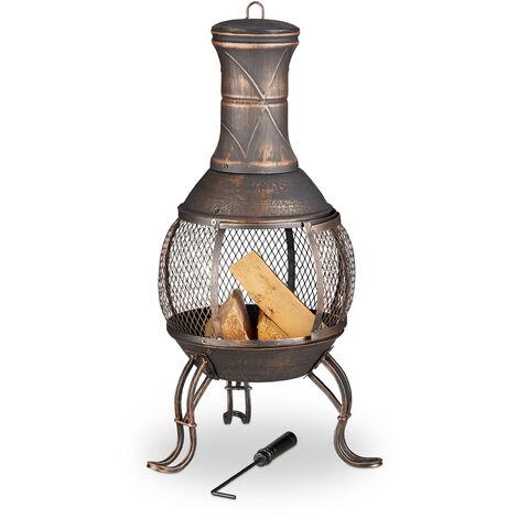 brasero mexicain, tisonnier, gril en bois, pare-étincelles, jardin, terrasse, cheminée antique, H 89cm, bronze