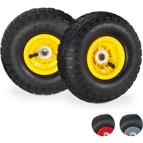 2 roues pour diable 4.1/3.5-4, de rechange avec air, axe de 16 mm, jusqu'à 136 kg, 260 x 85 mm;noir-jaune