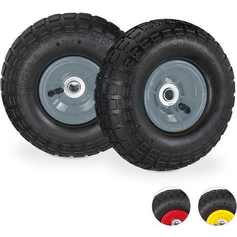 2 roues pour diable 4.1/3.5-4, de rechange avec air, axe de 16 mm, jusqu'à 136 kg, 260 x 85 mm;noir-gris