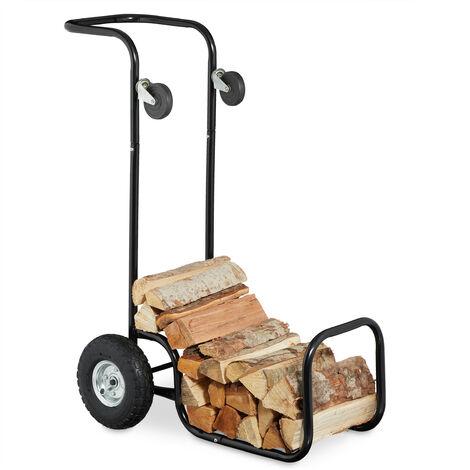 Chariot à bois, 2 en 1, panier à bûches avec roues, en acier, jusqu'à 50 kg, transport & rangement, noir