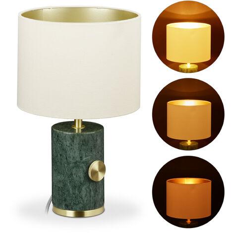 Lampe de table en marbre, abat-jour, réglable, E14, éclairage de salon, HxD 34,5 x 21 cm, vert/doré/beige