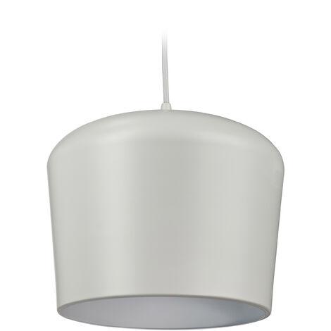 Lampe suspension, métallique, lustre salon et salle à manger, vintage, douille E27, HxD 138x26cm, gris, pâle