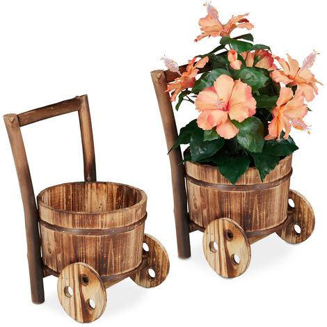 Brouette plantes en bois, décoration jardin, design vintage, à orner de fleurs, HLP 33x20x20cm, nature