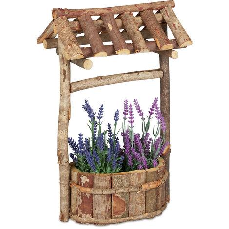 Décoration jardin, puits décoratif en bois, déco bassin et étang avec écorce, HxLxP: 43 x 25 x 18 cm, nature