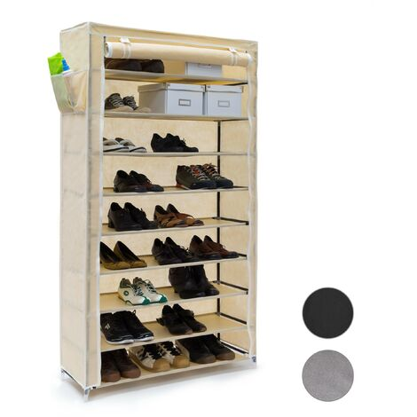 Meuble à chaussures VALENTIN Housse en tissu étagère armoire range-chaussures 10 Étages HxLxP 161 x 88 x 30 cm pour 45 paires de chaussures fermeture éclair range-souliers, beige