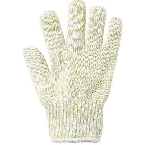 Gant anti-chaleur en fibres aramide taille universelle pour main gauche ou main droite sortir des plats du four barbecue pizza protection résistance haute température grill, beige
