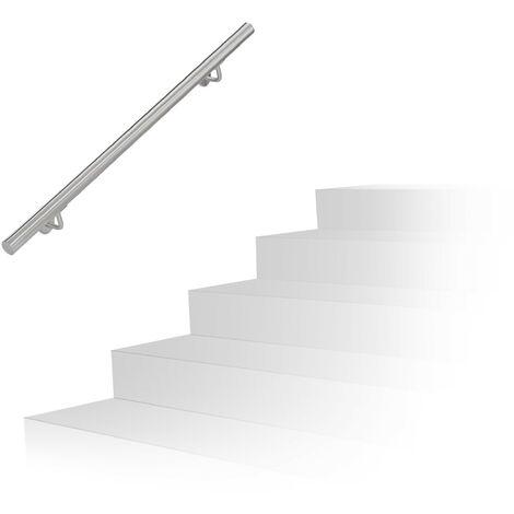 Main courante, inox 201, rampe d'escalier rond, intérieur & extérieur, 100 cm, Ø 38 mm, support mural, argenté