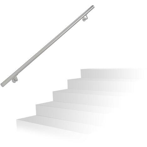 Main courante, inox 201, rampe d'escalier rond, intérieur & extérieur, 150 cm, Ø 38 mm, support mural, argenté