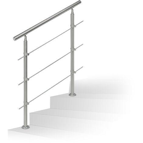 Rampe d'escalier en inox pour extérieur 1,0 de long 2 poteaux et 3 tringles, argenté