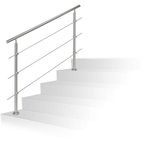 Rampe d'escalier en inox pour extérieur 1,5 de long 2 poteaux et 3 tringles, argenté
