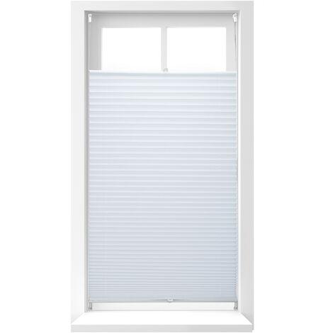 Store vénitien sans perçage volet fenêtre blanc laisse passer la lumière, 90 x 210 cm