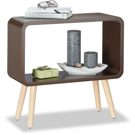 Meuble commode rétro HxlxP: 50x53x20 cm table chevet sans tiroir étagère bois MDF, marron