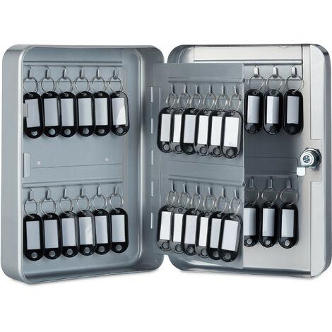 Boîte à clés, Armoire à clef murale, métal, Rangement 48 crochets, garage sécurité 25x18x7,5 cm, gris