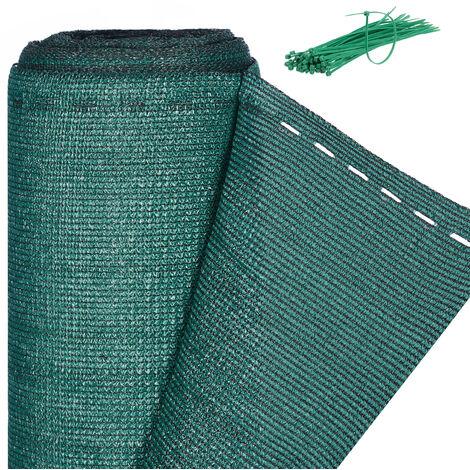 Brise-vue, Paravent pour les clôtures et rambardes, Tissu HDPE, Anti-UV, 1,5 x 30 mètres, vert