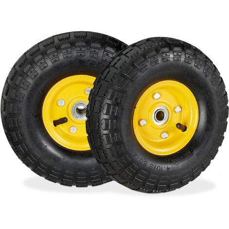 2 roues pour diable 4.1/3.5-4, de rechange avec air, axe de 136 mm, jusqu'à 136 kg, jantes acier 260 x 85 mm,