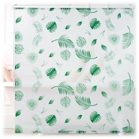 Store de baignoire, 160 x 240 cm, rideau de douche hydrofuge, plafond & fenêtre, pare-bain, blanc/vert