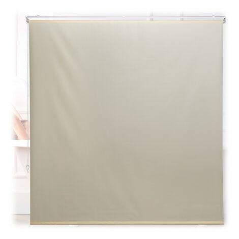 Store de baignoire, 160x240 cm, rideau de douche hydrofuge, plafond & fenêtre, pare-bain, salle de bain, beige