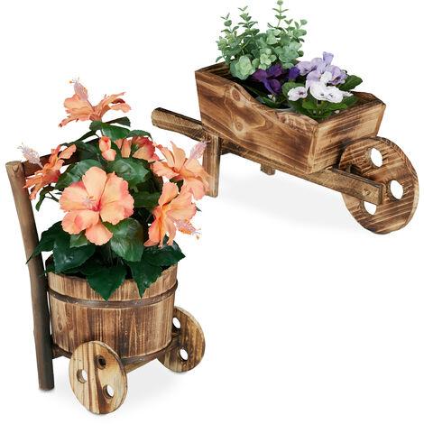 Brouette pour plantes, jeu de 2, bois brûlé, jardin décoration, design vintage, HxlxP