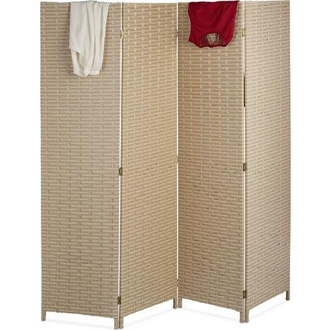Paravent intérieur, 4 parties, HxL 180 x 180 cm, séparateur pliable, moderne, plastique, brise-vue, beige