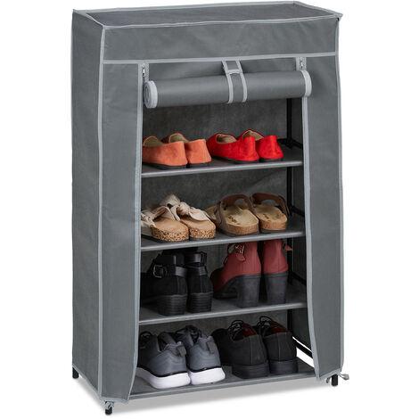 Meuble à chaussures tissu, 5 compartiments, 15 paires, housse amovible, armoire, HLP 90x60x30 cm, anthracite